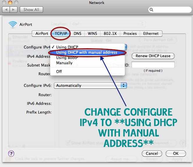 mac os x self assigned ip address ethernet