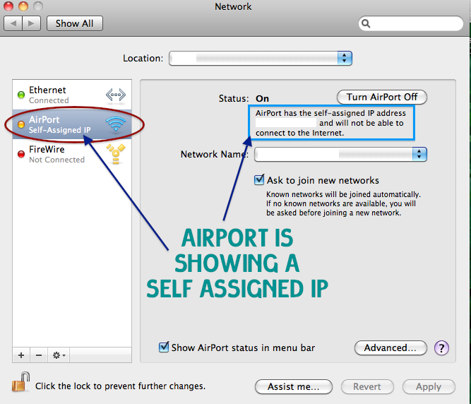 Mac self assigned ip address